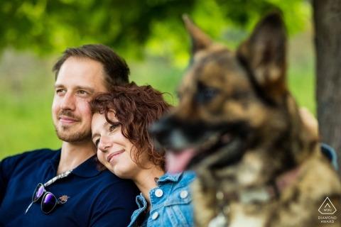 Czech Republic engagement portrait at the park with a German Shepherd dog