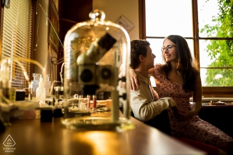Czech Republic pre-wedding portrait in a Laboratory with scientific instruments