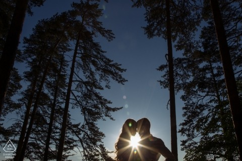 Sunset sun flare couple engagement picture session in the forest of Chelyabinsk Russia