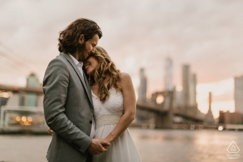 Miami Florida pre-wedding engagement session at the waters edge with city skyline