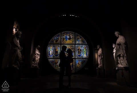 Engagement photo session indoors in Siena, Tuscany
