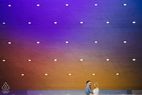 Washington DC engagement portrait session under a sky of can lights indoors