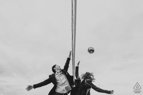 A formal game of volleyball for this DC couple wanting something different for their engagement portrait