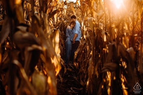 Río Grande do Sul portrait of a couple in the tall corn during their engagement session