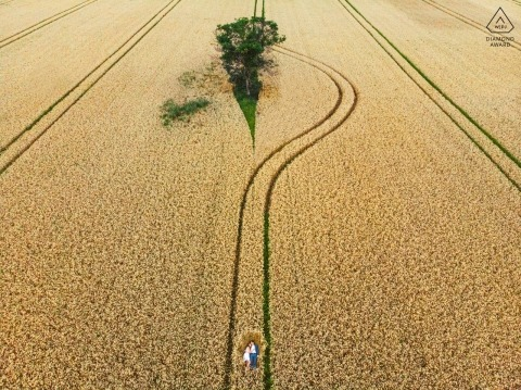 drone engagement shoot Under the sky | field, tree, nature
