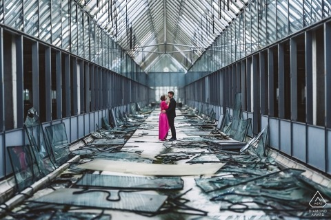 Engagement session in abandoned hospital for pre-wedding portraits