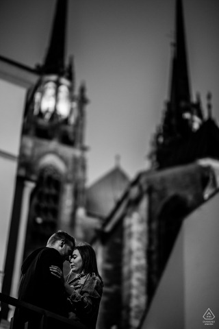Vertical engagement Photo from a portrait session near the cathedral in Czech Republic