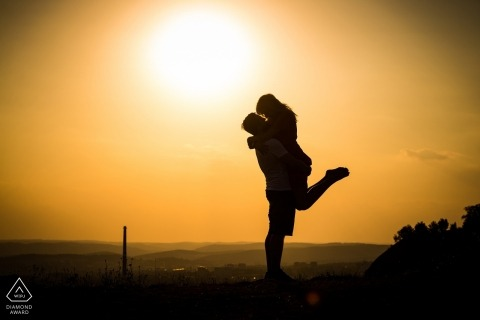 Czech Republic sunset engagement Photo session with a silhouette couple