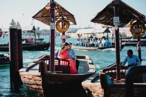Dubai Engagement Shoot in boats on the water at Dubai Creek