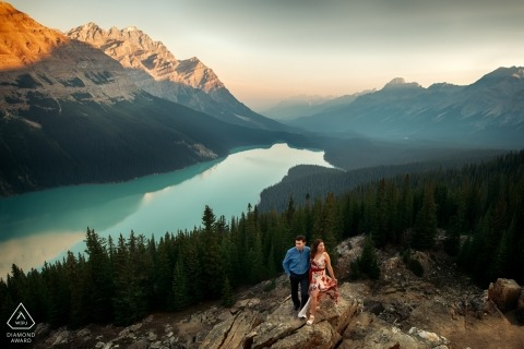 Alberta Engagement Photograph at the lake high in the mountains of Canada