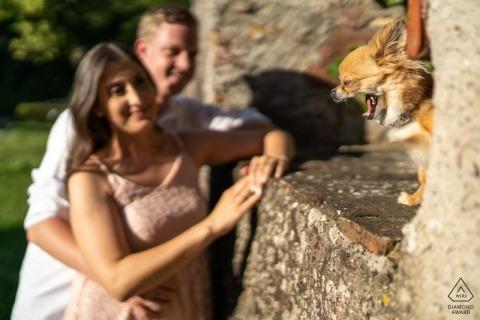 Séance photo d'engagement du Bade-Wurtemberg au parc avec un grand soleil