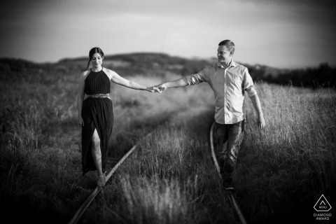 Baden-Württemberg Engagement Photo on Rail Road Tracks in black and white