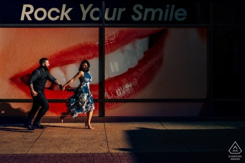 Urban Alberta Engagement Photos - Couple walking the streets - Rock Your Smiles