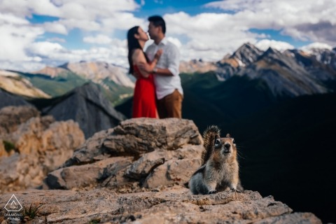 Alberta Engagement Portrait in the mountains of Canada