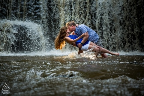 Waterfall Dip Engagement Session in MN