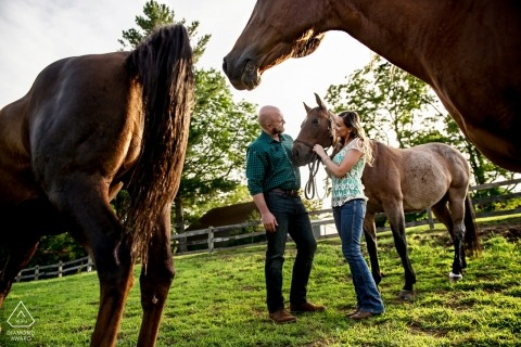 New Jersey Couple Portraits with Horses for their Engagement Photos
