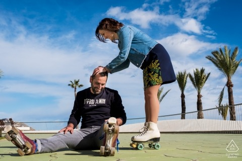 Valencia engagement portrait shoot on roller skates at the beach