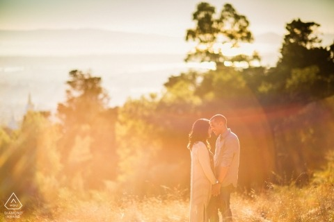 Sunny day wedding photographer engagement shoot with flares | Northern California pre-wedding pictures
