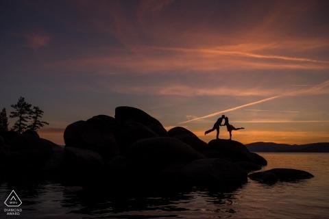 lake tahoe prewedding photograph of yoga-ish portrait at the lake