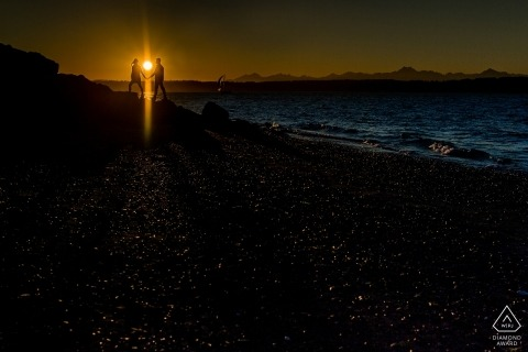 Washington engagement shoot with a couple at sunset at the beach | Seattle photographer pre-wedding session