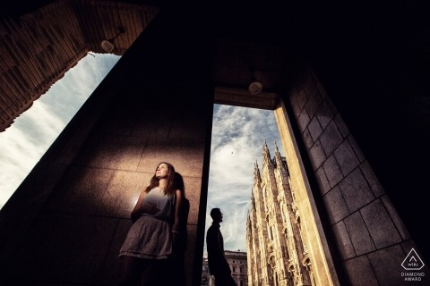 Lombardy pre-wedding engagement shoot with a light | Milan portraits
