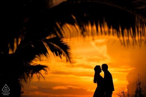 與一對夫婦剪影的浙江日落棕櫚樹訂婚射擊| 杭州市攝影師婚前會議