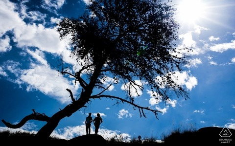 Blue Sky, Big Tree, Bright Sun | Murcia Spain Engagement Portraits