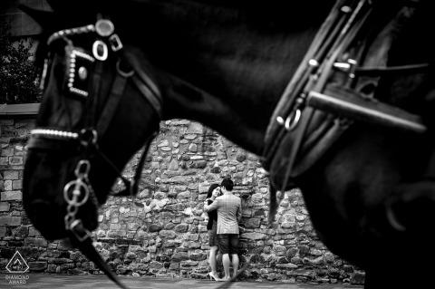 Photos de fiançailles de mariage à Montréal avec un cheval pour un couple québécois