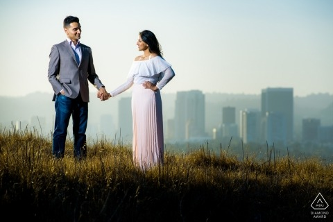 Baldwin Hills Lookout Engagement Photo for the pre-wedding couple