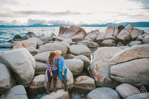 Lake Tahoe rock jetty engagement portrait session