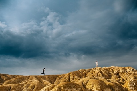 Spain pre-wedding engagement shoot in the hills before the storm | Hungary portraits