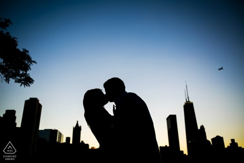 Chicago couple in front of Skyline Milton Lee Olive Park | Engagement Portrait Session