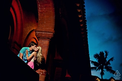 Key West Engagement Session under the brick arches at sunset with a Florida wedding photographer