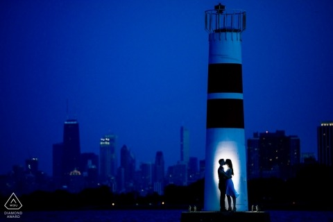 Montrose Harbor Dusk Engagement Session for a Chicago couple about to get married