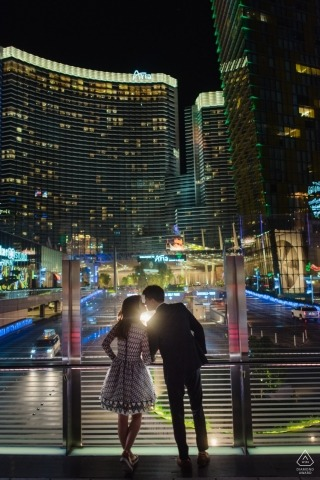 Pre-wedding engagement pictures of a couple overlooking the city lights | Washington DC portrait shoot