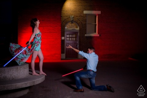Star Wars engagement photos of a couple with light sabers | British Columbia photographer pre-wedding portrait session