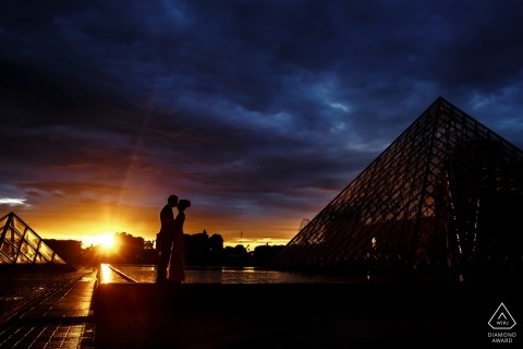 Sunsets and Pyramids   a couple poses during their pre-wedding portrait photo shoot