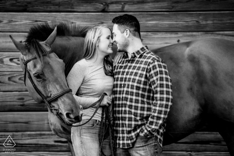 Maryland Farm Engagement portrait session with a couple and their horse
