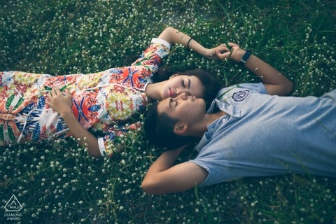 Splendor in the Grass | wedding engagement portrait of a couple | Bangkok pre-wedding pictures