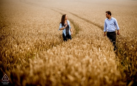 Dorset engagement photography with couple in farm field by Robin Goodlad | UK photography
