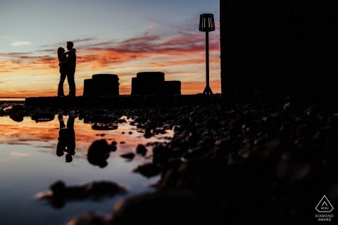 Whitstable Wedding Engagement Photography session with sunset and water reflections | Kent Engagement Shoot
