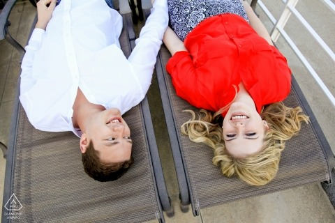 Chicago Gold Coast Engagement Session voor een nieuw verloofd paar