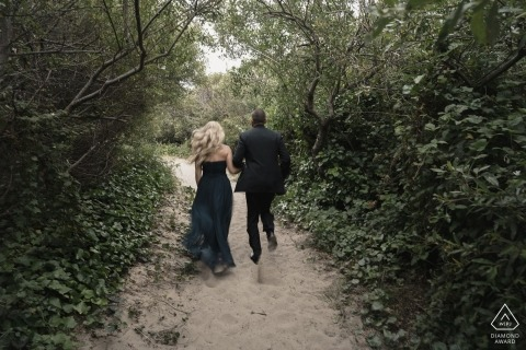 San Francisco Wedding Engagement portrait of this couple hitting the hiking trail in formal wear