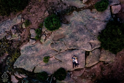 Colorado Engagement Photography on the Rocks as seen from a Drone