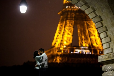 Paris pre-wedding engagement pictures of a couple near the Eiffel Tower   couple photography session