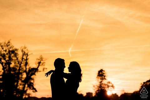 silhouette engagement session at sunset | Luxembourg Photography
