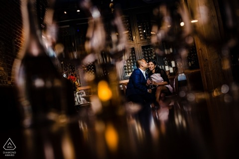 CA engagement images of a couple in a bar | Sacramento photographer pre-wedding session for portraits
