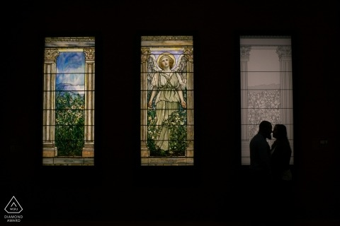 MA engagement images of a couple with stained glass windows | Boston photographer pre-wedding session for portraits