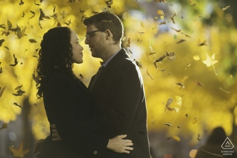De verlovingbeelden van Massachusetts van een paar in het park met bladeren die vallen | Boston fotograaf pre-huwelijksshoot met fotograaf
