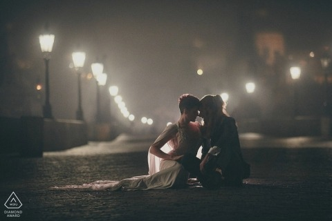 Prague urban wedding engagement photography session under the street lights